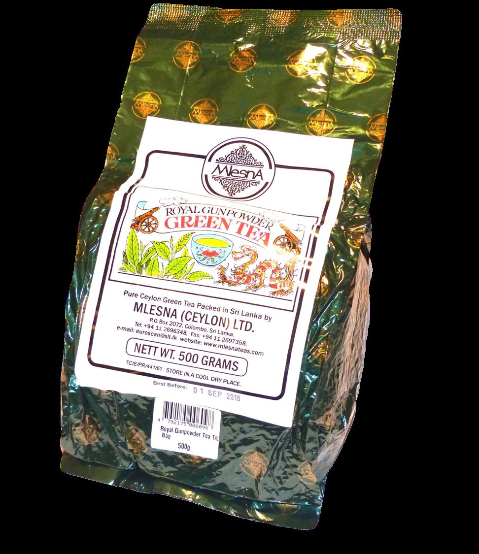 Čaje Mlesna Royal Gunpowder pro zdravý životní styl MLESNA (Ceylon) Ltd. pravý čaj z Cejlonu