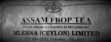 Čaje Mlesna Assam Tea Orange Pekoe Mlesna Sri Lanka pravý čaj z Cejlonu