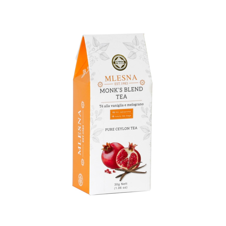 Čaje Mlesna Černý čaj nejvyšší kvality s přírodní esencí granátového jablka a vanilky MLESNA (Ceylon) Ltd. pravý čaj z Cejlonu