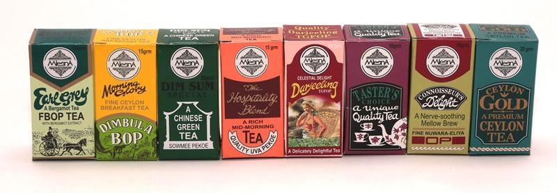 Čaje Mlesna Minikrabičky, čaje ze Srí Lanky, Darjeelingu a Číny MLESNA (Ceylon) Ltd. pravý čaj z Cejlonu