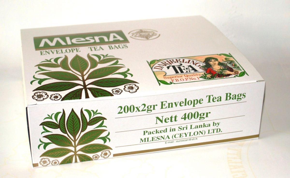 Čaje Mlesna Gastrobalení 200ks v papírové přebalu MLESNA (Ceylon) Ltd. pravý čaj z Cejlonu