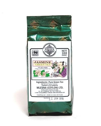 Čaje Mlesna Zelený sypaný čaj ochucený přírodním extraktem z JASMÍNU - MLESNA (Ceylon) Ltd. pravý čaj z Cejlonu