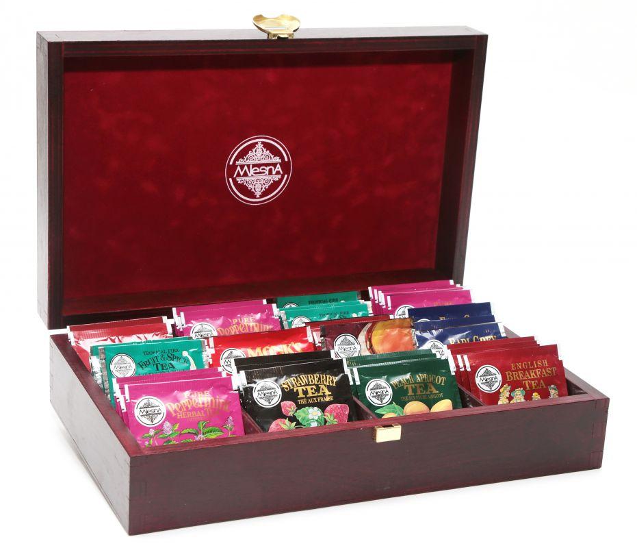 Čaje Mlesna Luxusní prezentační kazeta na čaje do Vaší provozovny MLESNA (Ceylon) Ltd. pravý čaj z Cejlonu