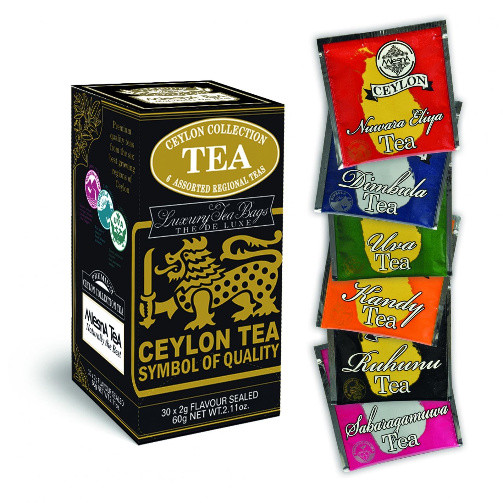 Čaje Mlesna Sáčková kolekce významných čajových oblastí 30x2g MLESNA (Ceylon) Ltd. pravý čaj z Cejlonu