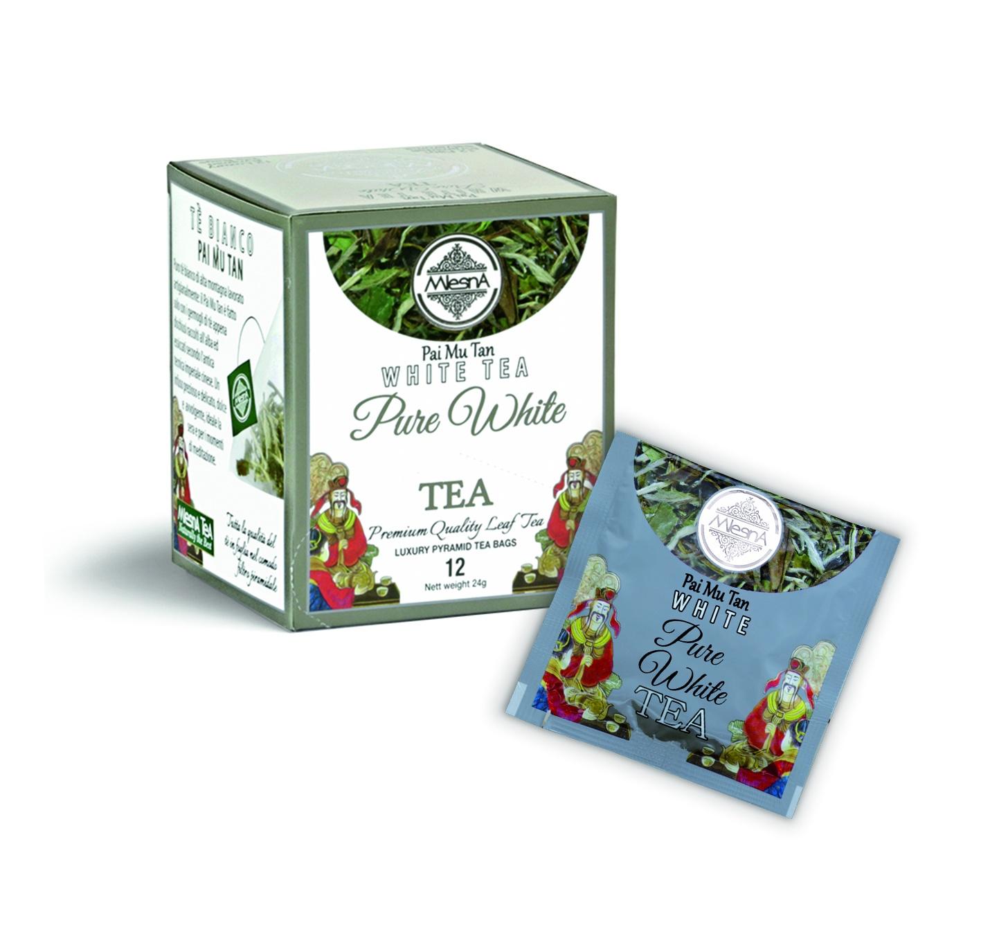 Čaje Mlesna SILVER TIP - BÍLÝ ĆAJ - pyramida - PAI MU TAN 12ks MLESNA (Ceylon) Ltd. pravý čaj z Cejlonu