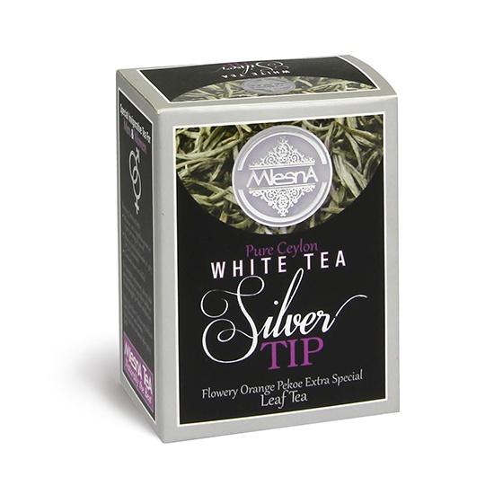 Čaje Mlesna SILVER TIP Cejlonský bílý F.O.P. EXTRA SPECIAL 50g MLESNA (Ceylon) Ltd. pravý čaj z Cejlonu