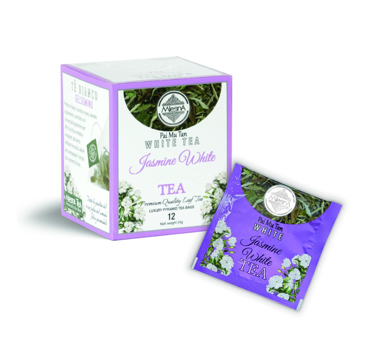 Čaje Mlesna SILVER TIP - JASMÍN - pyramida - PAI MU TAN 12ks MLESNA (Ceylon) Ltd. pravý čaj z Cejlonu