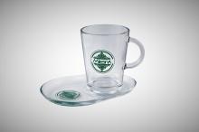 Skleněný hrnek s podšálkem, Glass Tea Set  0,3l